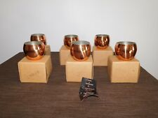 "VINTAGE  6 COPPERCRAFT GUILD 2 3/4""  COPPER WINE PUNCH COCKTAIL CUPS NEW IN BOX"