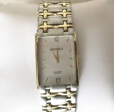 REGENCY Men's Two Tone Diamond Quartz Rectangular Dial Wristwatch With Diamonds