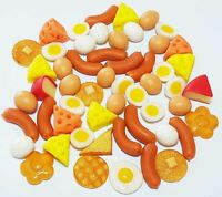 50 Dollhouse Miniature Mixed Breakfast Food Set * Doll Mini Sausage Eggs Pancake