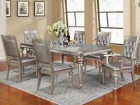 PASADENA - 7pcs Traditional Silver Rectangular Dining Room Table & Chairs Set