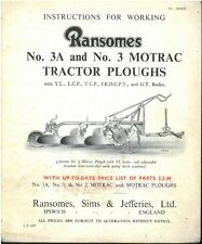 RANSOMES No.3A & No.3 MOTRAC TRACTOR PLOUGH OPERATORS MANUAL