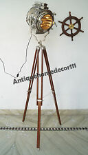 Hollywood Nautical Vintage Searchlight Floor Lamp Spotlight With Wooden Tripod