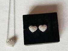 Swarovski Herz Kette Ohrringe Set Wendekette silber Kristalle Liebe Valentinstag