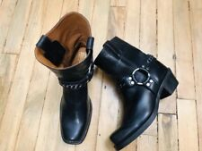 FRYE HARNESS MID CALF CHAIN ACCENT BLACK LEATHER WOMENS BOOTS NWOB SIZE 8