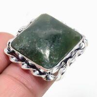 "Green Jade Gemstone Handmade 925 Sterling Silver Jewelry Ring Size 5"""