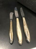 2-Sterling Handle REED & BARTON Oval Table Knife 1-Butter Knife SILVER SCULPTURE