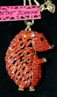 Hot  Betsey Johnson Cute Red Hedgehog Crystal Animal Pendant Chain Necklace