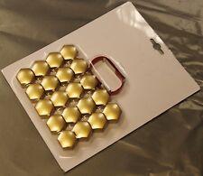 MERCEDES BENZ A B C E SLK CLASS GOLD WHEEL NUT BOLT COVERS CAPS 17mm x 20
