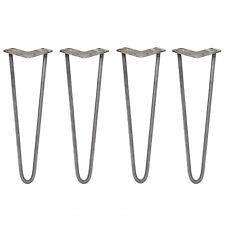 4 Pieds de Table en Épingle à Cheveux 40,6cm 2 Tiges en Acier, Épaisseur 12mm
