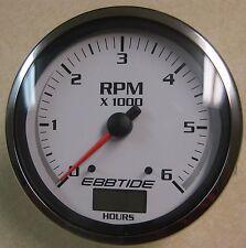 "Beede Ultra White Boat 5"" Tachometer 6000 RPM w/ Hour Meter w/ Ebbtide Logo"