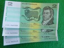 1985 $2 notes UNC 3 notes KVN x 2 01/03 (m thred)KVN 345 s thred-JOHNSTON/fraser