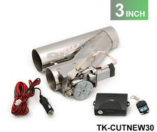 """Universal 3"""" Y-PIPE CUTOUT VALVE SYSTEM KIT EXHAUST HEADER MUFFLER + SWITCH"""