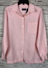Crazy Horse M Pink Button Down Long Sleeve Blouse Shirt Top n3