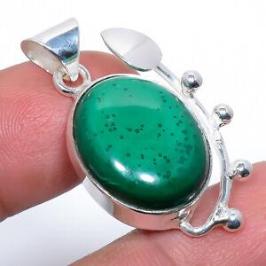 "Malachite - Congo Gemstone Handmade 925 Sterling Silver Pendant 1.37"" M1458"