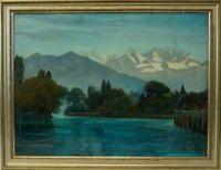 Ernst Idler (1858-1909) River Landscape - Baden Württemberg - Karlsruhe - Alps