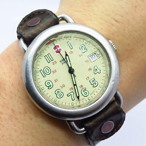 Vintage Swiss Army Stainless Steel Day-Date Dial Leather Strap Wristwatch