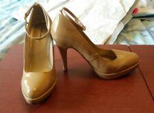 Women size 7 M sexy tan platform hi heels Euc! by Delicious!