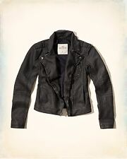 WOMENS HOLLISTER BY ABERCROMBIE SIZE XS WASHED FAUX LEATHER BIKER JACKET NWT