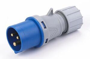 16A 240V 3pin IP44 Rated Blue Plug