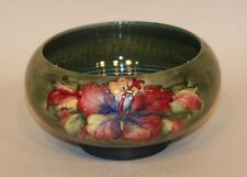 Walter Moorcroft Pottery 6 Inch Round Ribbed Bowl Hibiscus Flowers Green Ground