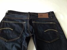 G-Star Raw Mens 3301 Low Tapered Dark Blue Button Fly Jeans Size 32 Inseam 29