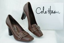 COLE HAAN  Womens 8.5B Moc Toe High Heel Dress Loafers Brown Pebbled Leather D15