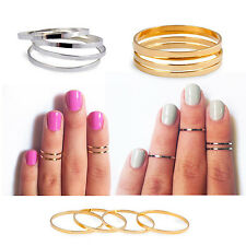5 PCS Midi Ring Set Silver Rose Gold Stack Cute Above Knuckle Band Pinky