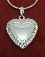 Heart Locket Necklace Silver Plated opens to fit photo 18in chain jewellery