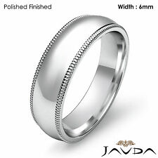Men Wedding Comfort Fit Band Dome Milgrain Ring 6mm Platinum 13.4g Size 11-11.75