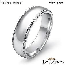 Men Wedding Comfort Fit Band Dome Milgrain Ring 6mm Platinum 13.4g Size 11-11.75