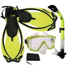 NEW Panoramic Purge Mask Dry Snorkel Fins Dive Gear Set