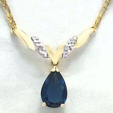 BLUE ZIRCON  4.76 Carats & DIAMONDS NECKLACE 10k  GOLD   *Free Shipping Service*