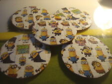 """5 Five MINIONS  DUCKTAPE design & Natural Cork Drink Coasters Placemats 3.5"""" in"""