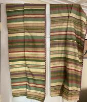 "Pair (2) Waverly Stripe Tuck Valance 76"" Two Greens Raspberry Purple Dot Trim"