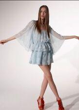 BARBARA HULANICKI TOPSHOP Blue Sheer Angel Bell Sleeve Vtg 70s Festival Top 10 6