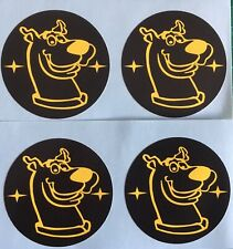 SCOOBY DOO ALLOY WHEEL CENTRE CAP STICKER COVERS X4 SUBA BLACK YELLOW 45mm