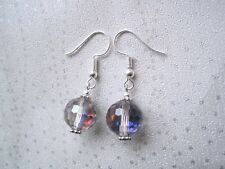 RAINBOW AB CRYSTAL BEAD DISCO BALL SP Drop Earrings Vintage Style Gift Sparkly