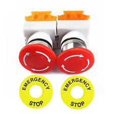 2pcs Red Mushroom Emergency Stop Push Button Switch No Nc 22mm Cnc Gecko Us