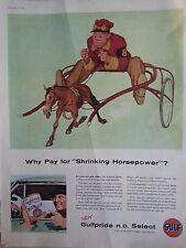 1955 Gulfpride HD Select Oil Shriking Horsepower Original Print Ad