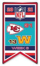 2021 Semaine 6 Bannière Broche NFL Kansas Ville Chiefs Vs.Washington Foot Super