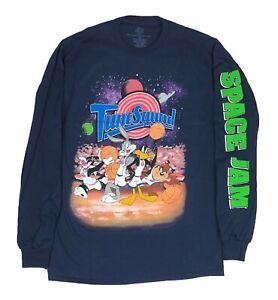 Looney Tunes Space Jam NBA Galaxy Logo Licensed Mens Long Sleeve T Shirt