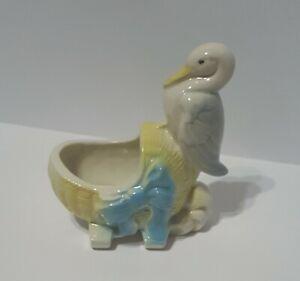 Vintage Ceramic Planter Stork On Bassinet Great Baby Shower Gift.