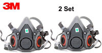 2Sets 3M 6000 series 6200 Spray Paint/Dust Gas Mask Respirator Half Facepiece