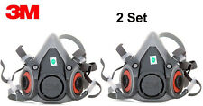 2Pack 3M 6000 series 6200 Spray Paint/Dust Gas Mask Respirator Half Facepiece
