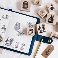 Niedlichen Tier Pflanzen Holz Stempel Scrapbooking Schreibwaren DIY Dekor DE