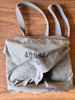 Vintage WWII Swiss Gas Mask Bag Canvas Satchel with Sewn Pockets Genuine WW2