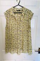 Yellow Dorothy Perkins Sleeveless Shirt Blouse Top Size 18 (8111)