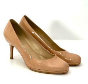 RUSSELL & BROMLEY Stuart Weitzman Nude Beige Patent Leather Heels UK5.5 US7.5
