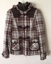 Women's Billabong Hooded Jacket Plaid Full Zip Toggle Lined Insulated Wool XS