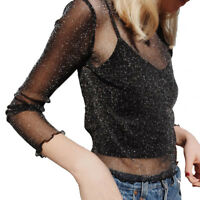 Girl Glitter Sheer Mesh Top Perspective Hollow Out Tee Shine Basic T-shirt Tops
